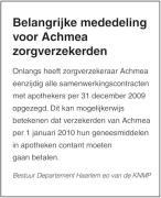 Apothekers prikkelen Achmea